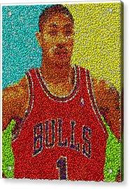 Derrick Rose Skittles Mosaic Acrylic Print by Paul Van Scott