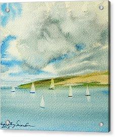 Dark Clouds Threaten Derwent River Sailing Fleet Acrylic Print