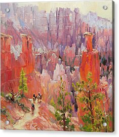 Acrylic Print featuring the painting Descent Into Bryce by Steve Henderson