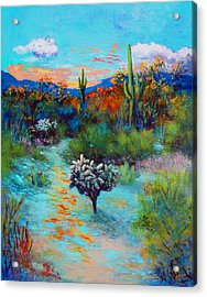 Acrylic Print featuring the painting Desert At Dusk by M Diane Bonaparte