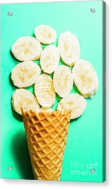 Desert Concept Of Ice-cream Cone And Banana Slices Acrylic Print by Jorgo Photography - Wall Art Gallery