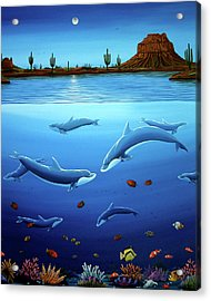 Desert Dolphins Close  Acrylic Print by Lance Headlee
