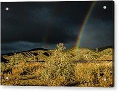 Desert Double Rainbow Acrylic Print