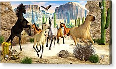 Acrylic Print featuring the photograph Desert Horses by Peter J Sucy