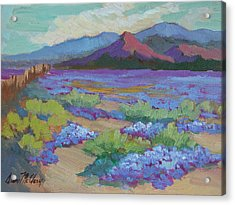 Acrylic Print featuring the painting Desert In Bloom by Diane McClary