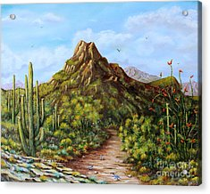 Desert Landscape Gambel's Quail Acrylic Print