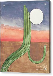 Acrylic Print featuring the painting Desert Moon by LeAnne Sowa