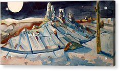 Acrylic Print featuring the painting Desert Moonscape by Steven Holder