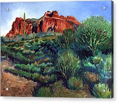 Desert Mountain Tapestry Acrylic Print by Kent Looft