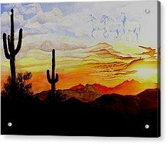 Desert Mustangs Acrylic Print
