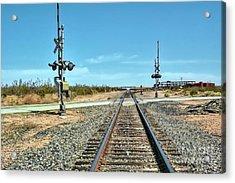 Desert Railway Crossing Acrylic Print