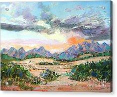 Desert Sunrise Acrylic Print by Lucinda  Hansen