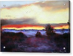 Acrylic Print featuring the painting Desert Sunset I by M Diane Bonaparte