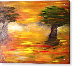 Acrylic Print featuring the painting Desert Trees by Evelina Popilian