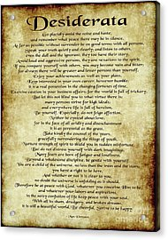 Desiderata - Antique Parchment Acrylic Print