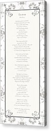 Acrylic Print featuring the digital art Desiderata In Silver Script By Max Ehrmann by Rose Santuci-Sofranko