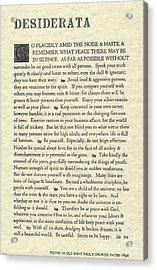 Desiderata Poem On Parchment Acrylic Print