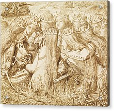 Design For Moxon's Tennyson - King Arthur And The Weeping Queens Acrylic Print by Dante Gabriel Rossetti