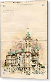 Design Of Bexar County Court House. San Antonio Tx. 1894 Acrylic Print by James Riely Gordon