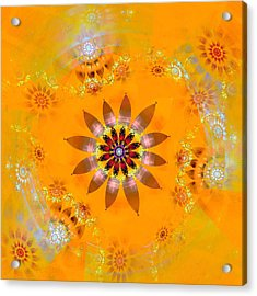 Acrylic Print featuring the digital art Designs On Gold by Richard Ortolano