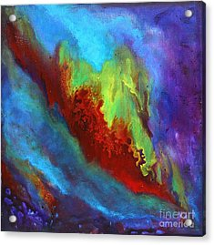 Desire A Vibrant Colorful Abstract Painting With A Glittering Center  Acrylic Print