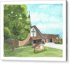 Acrylic Print featuring the painting De Soto Baptist Church by Betsy Hackett