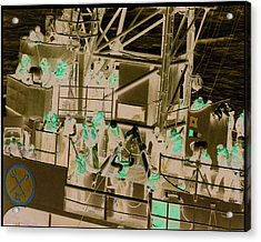 Destroyer Alongside Carrier Acrylic Print by Mike Ray