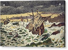 Destruction By Storms Of The Invincible Spanish Armada Acrylic Print by Spanish School