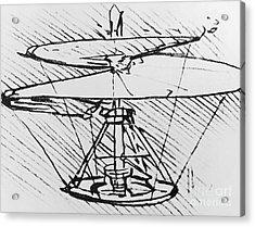 Detail Of A Design For A Flying Machine Acrylic Print by Leonardo Da Vinci