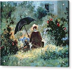 Detail Of A Gentleman Reading In A Garden Acrylic Print by Carl Spitzweg