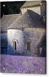 Detail Of Abbaye Senanque, Church In Provence, Southern France, Surrounded By Lavender Acrylic Print