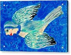 Detail Of Bird People Flying Bluetit Or Chickadee Acrylic Print by Sushila Burgess
