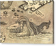 Detail Of Geographical Map Depicting Monstrous Sea Creature Acrylic Print by Spanish School