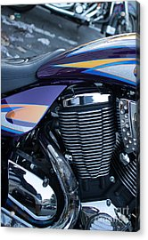 Detail Of Shiny Chrome Cylinder And Engine On Cruiser Motorcycle Acrylic Print