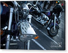 Detail Of Shiny Chrome Headlight On Cruiser Style Motorcycle Acrylic Print