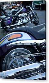 Detail Of Shiny Chrome Tailpipe And Rear Wheel Of Cruiser Style  Acrylic Print