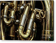 Detail Of The Brass Pipes Of A Tuba Acrylic Print by Jane Rix