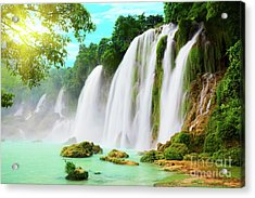 Detian Waterfall Acrylic Print by MotHaiBaPhoto Prints