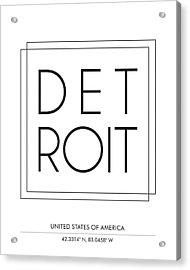 Detroit City Print With Coordinates Acrylic Print