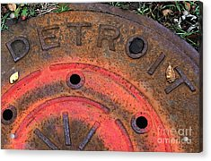 Detroit Manhole Cover Spray Painter Red Acrylic Print