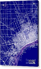 Detroit Michigan 1905 Old Map Blue Acrylic Print