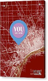 Detroit Michigan 1905 Red Old Map Your Are Here Acrylic Print