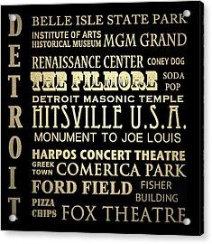 Detroit Michigan Famous Landmarks Acrylic Print