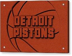 Detroit Pistons Leather Art Acrylic Print by Joe Hamilton