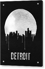 Detroit Skyline Black Acrylic Print by Naxart Studio