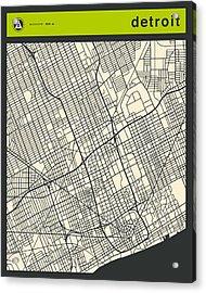 Detroit Street Map Acrylic Print by Jazzberry Blue