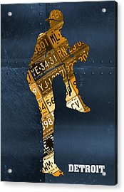 Detroit Tigers Baseball Pitcher Player Recycled Michigan License Plate Art Acrylic Print