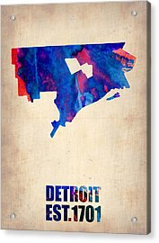 Detroit Watercolor Map Acrylic Print by Naxart Studio