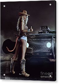 Acrylic Print featuring the digital art Devil In Blue Jeans by Shanina Conway