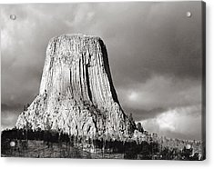 Devil's Tower Black And White Acrylic Print